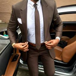 2019 Latest coat pants designs Brown men <font><b>suit</b></