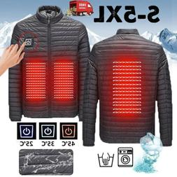3-grar℃ Men USB Electric Heated Down Jacket Winter Heating