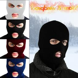 3 Hole Balaclava Knitted Ski Mask Full Face Warm Cap Hat Win