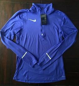 $65 Nike Mens Dri-Fit Element 1/2 ZIP Running Jacket Top Blu