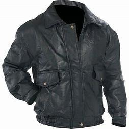 BOMBER JACKET Mens Black Genuine Leather Flight Coat Motorcy