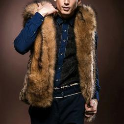 EP_ Men Faux Fur Sleeveless Hoodie Vest Coat Warm Winter Jac