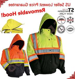 Hi-Vis Insulated Safety Bomber Reflective Jacket Coat Road W