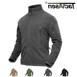TACVASEN Mens Fleece Jacket Stand Collar Tactical Military P