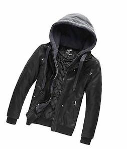 Wantdo Men's Leather Jacket with Removable Hood US Medium Bl