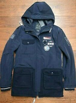 Armani Exchange A|X $310 Mens Signed Badges Navy Blue Hooded