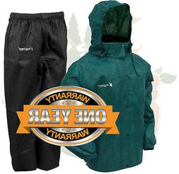Green//Black Large Frogg Toggs Mens All Sports Rain and Wind Suit