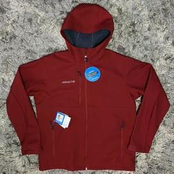 COLUMBIA ASCENDER Mens Softshell Hoodie Jacket ZIP Red Size
