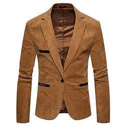 haoricu Men's Autumn Winter Casual Corduroy Suit Jacket Blaz