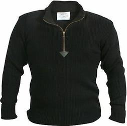 Black Acrylic Commando Military Quarter Zip Sweater with Sue