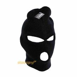Black Ski Mask Beanie 3 Hole Knitted Cap Hat Warm Face Winte