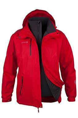 Mountain Warehouse Bracken Mens 3 in 1 Waterproof Jacket Red