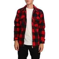 Maxxsel Mens Buffalo Plaid Fleece Jacket
