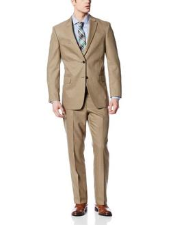 Tommy Hilfiger Men's Cashman 2 Button Side Vent Suit, Brown,