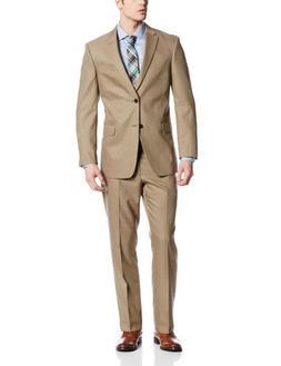 Tommy Hilfiger Men's Cashman 2 Button Side Vent Suit, Brown,