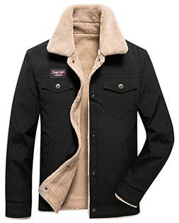 HOW'ON Men's Casual Sherpa Fleece Lined Jacket Warm Coat wit