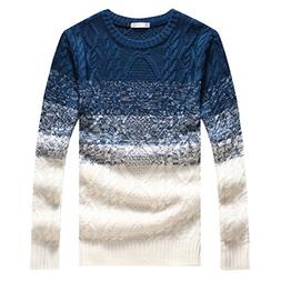QZUnique Men's Classic Crewneck Pullover Sweater Gradient Co