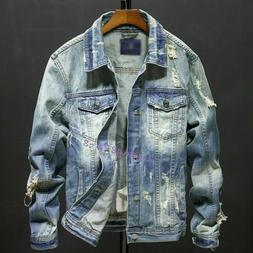 Classic Mens Denim Ripped Rugged Slim Fit Jean Jackets Label