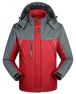 Fashionmore Men's Contrast Waterproof Outdoor Raincoat Hoode