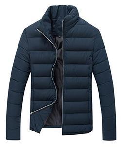 J-SUN-7 Mens Pure Color Cotton Outwear Puffer Jacket Navy Sm