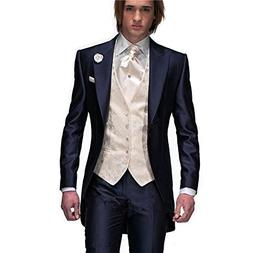 MYS Mens Custom Made Groomsman Tuxedo Suit Pants Vest and Tie Set White