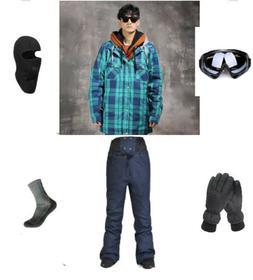 D100 Men Ski Snowboard Jacket Pants Gloves Goggles Balaclava