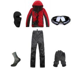 D102 Men Ski Snowboard Jacket Pants Gloves Goggles Balaclava