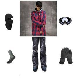 D103 Men Ski Snowboard Jacket Pants Gloves Goggles Balaclava