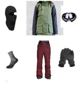 D34 Men Ski Snowboard Jacket Pants Gloves Goggles Balaclava