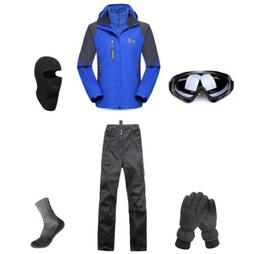 D66 Men Ski Snowboard Jacket Pants Gloves Goggles Balaclava