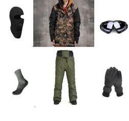 E8 Men Ski Snowboard Jacket Pants Gloves Goggles Balaclava S