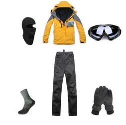 D91 Men Ski Snowboard Jacket Pants Gloves Goggles Balaclava