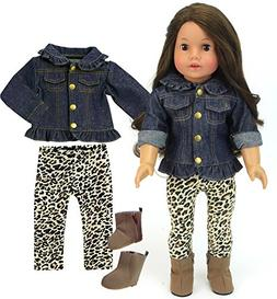 Doll Not Included Sophia/'s Sophias 18 Inch Doll Outfit Fall Fashion with Ruffle Denim Jacket Leopard Print Leggings and Brown Ankle Boots