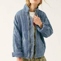dolman quilted denim zip up jacket size