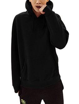 Men Drawstring One Kangaroo Pcoket Thick Hooded Sweatshirt B