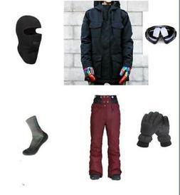 E32 Men Ski Snowboard Jacket Pants Gloves Goggles Balaclava