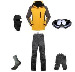 E34 Men Ski Snowboard Jacket Pants Gloves Goggles Balaclava