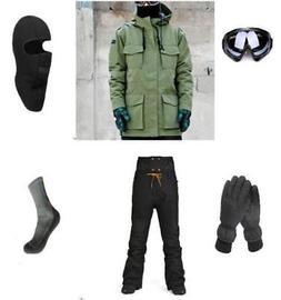 E4 Men Ski Snowboard Jacket Pants Gloves Goggles Balaclava S