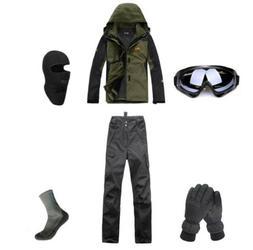 D52 Men Ski Snowboard Jacket Pants Gloves Goggles Balaclava