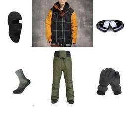 D9 Men Ski Snowboard Jacket Pants Gloves Goggles Balaclava S
