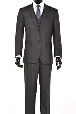 King Formal Wear Elegant Mens Charcoal Gray Two Button Three