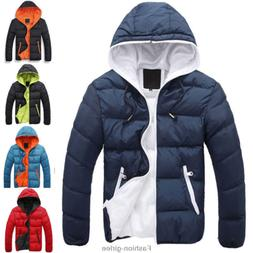 Fashion Men Boy Winter Warm Hooded Thick Padded Jacket Zippe