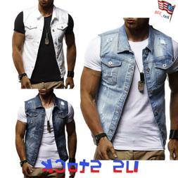 Fashion Men Denim Vest Jackets Wash Jeans Sleeveless Distres