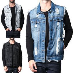 Fashion Mens Denim Jeans Vest Retro Cotton Sleeveless Man Vi