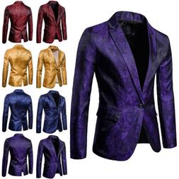 Fashion Mens Jacquard Suit Coat Casual Slim Formal One Butto