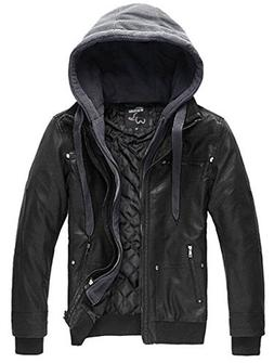 Wantdo Men's Pu Leather Jacket with Removable Hood US Small
