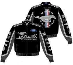 Men's Ford Mustang Jacket Black Cotton Twill Collage C7 Embr