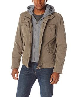 Washed Cotton Four Pocket Hooded Jacket,Khaki,XX-Large