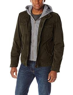 Washed Cotton Four Pocket Hooded Jacket,Khaki,XX-Large