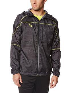 Asics Men's Fujitrail Packable Jacket, Black Wood Print, XX-